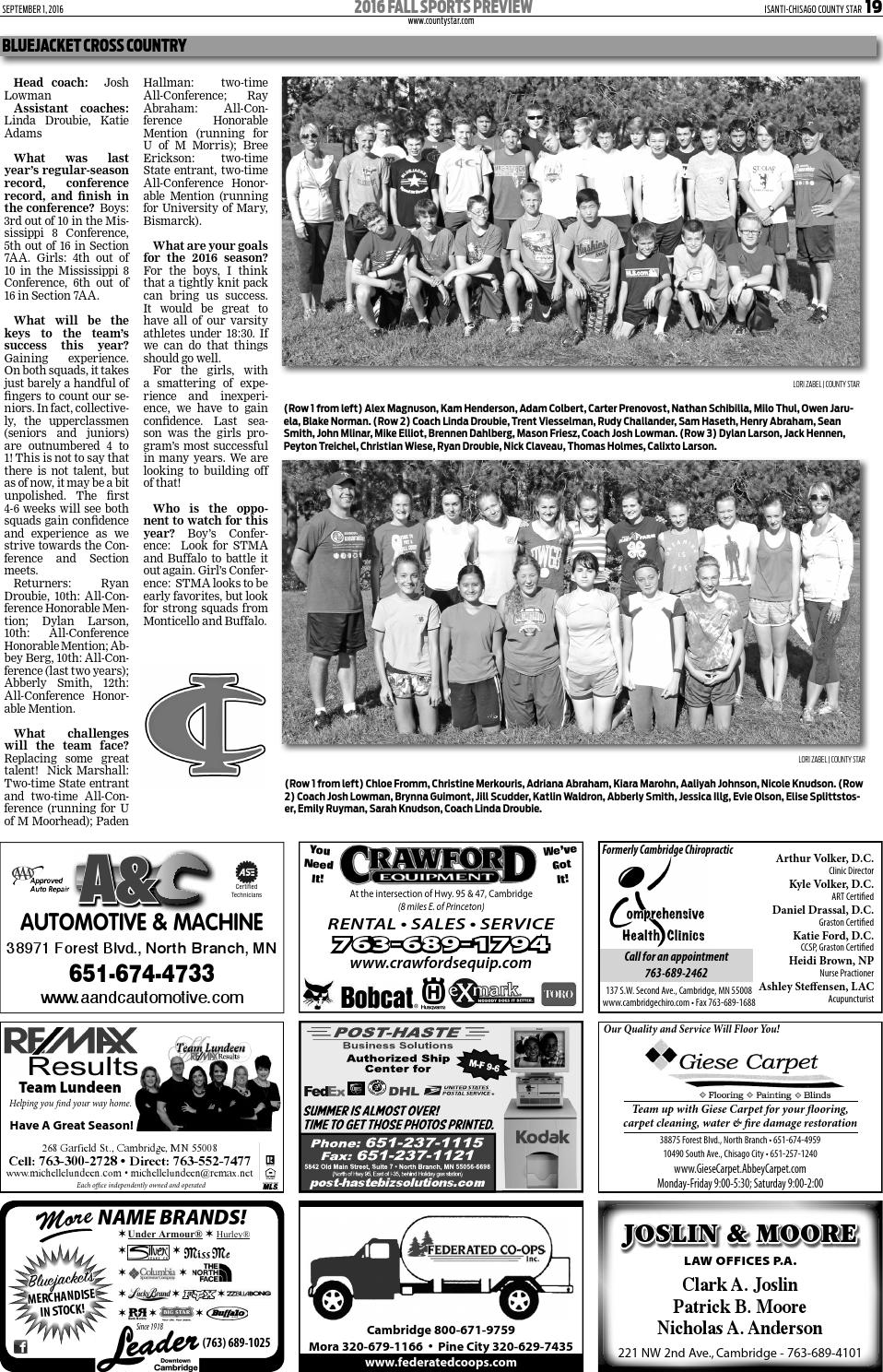 Isanti-Chisago County Star September 1, 2016 by Isanti