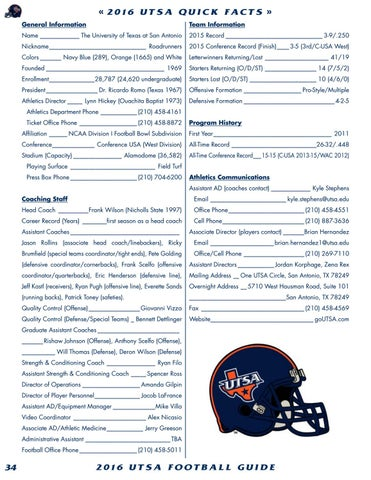 53278684a 2016 UTSA Football Media Guide by UTSA Athletics Communications - issuu