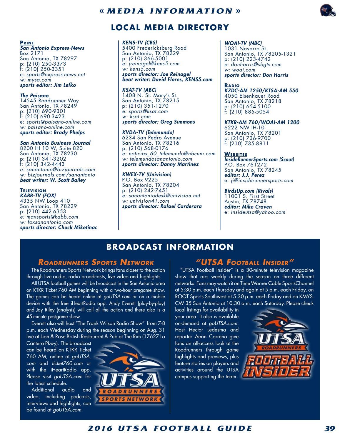 2016 UTSA Football Media Guide by UTSA Athletics