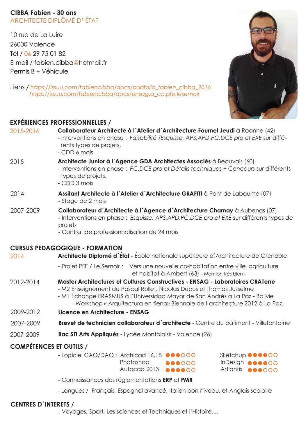 Cv fabien cibba by fabien issuu for Collaborateur d architecte onisep