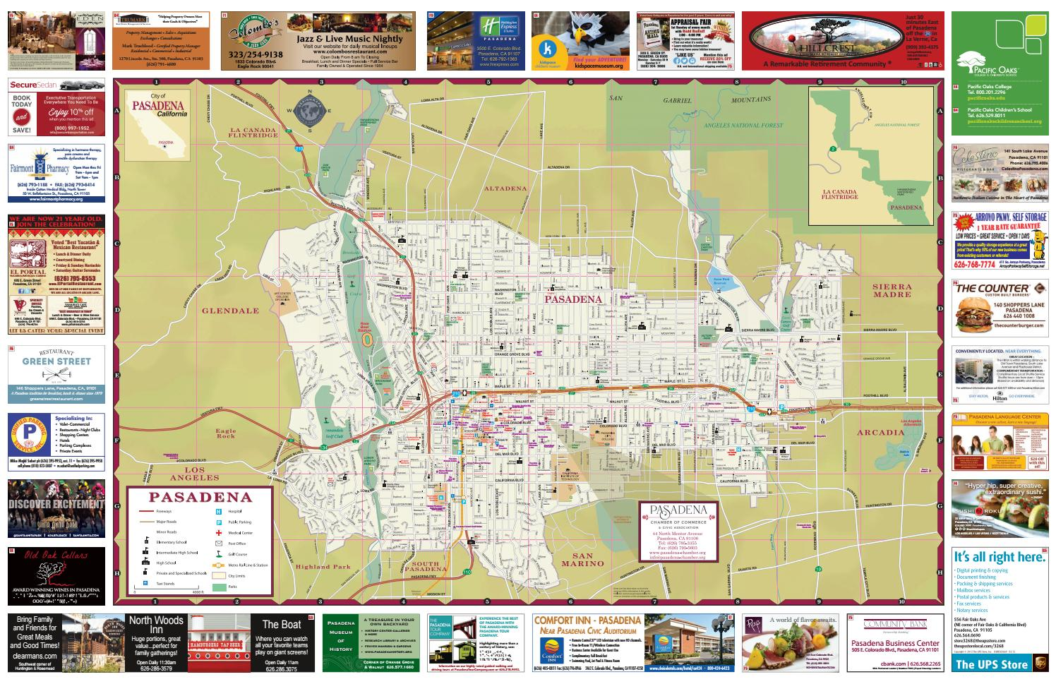 Official Pasadena City Map 2016 17 By Chamber Marketing