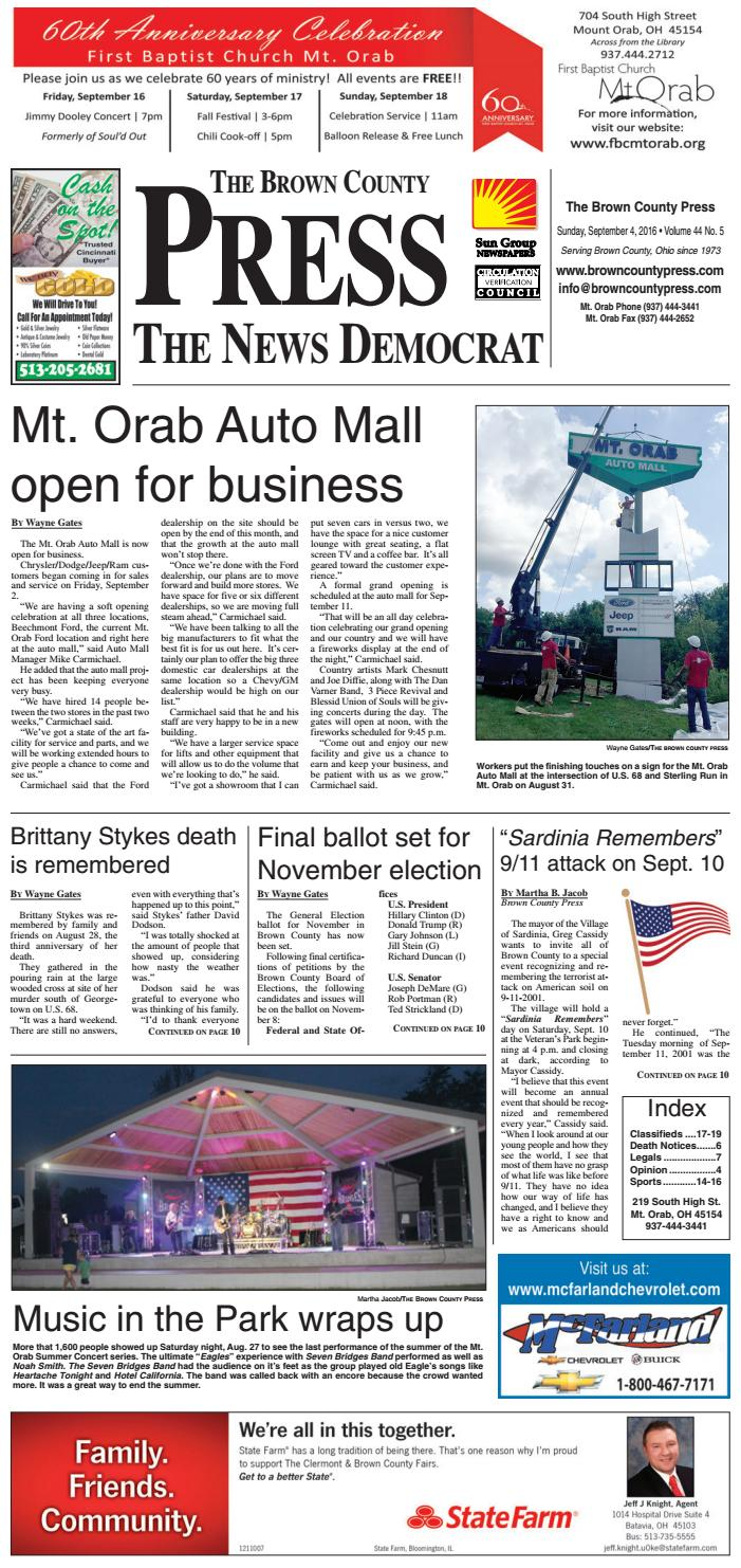 Mt Orab Auto Mall >> Bcp 09042016 By Clermont Sun Publishing Company Issuu