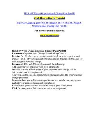 HCS 587 WEEK 3 Barriers of Change Product