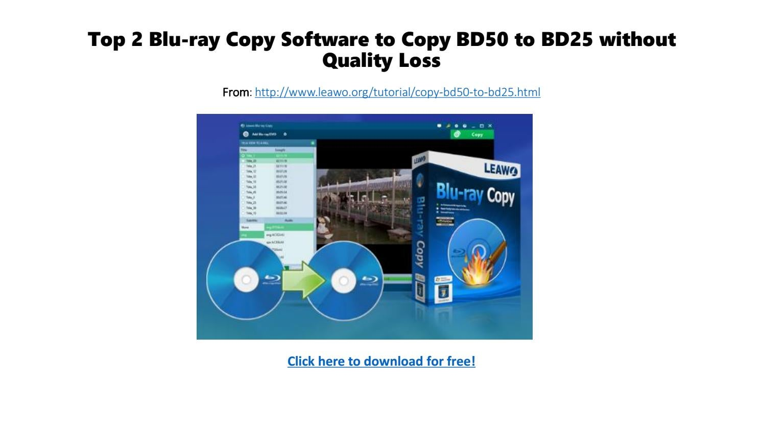 Top 2 blu ray copy software to copy bd50 to bd25 without