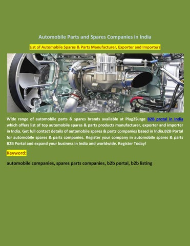 Automobile parts and spares companies in india by plug2surge