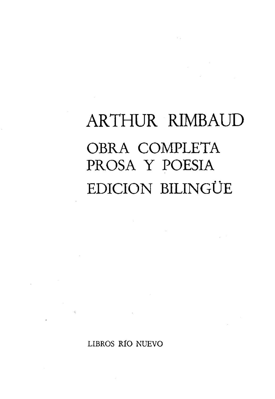 Rimbaud Jean Arthur Obra Completa Prosa Y Poesia Bilingue