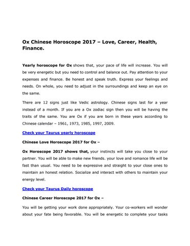 Ox chinese horoscope 2017 by AstroVidhi - issuu