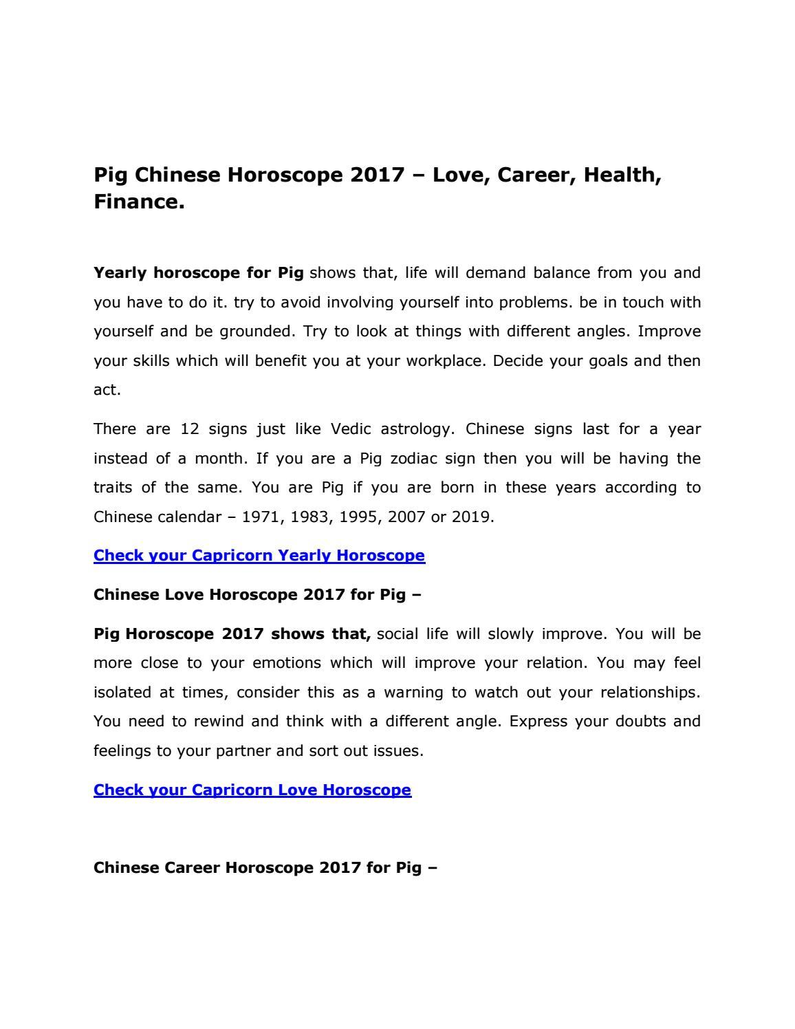Pig Chinese Horoscope 2017 By Astrovidhi Issuu