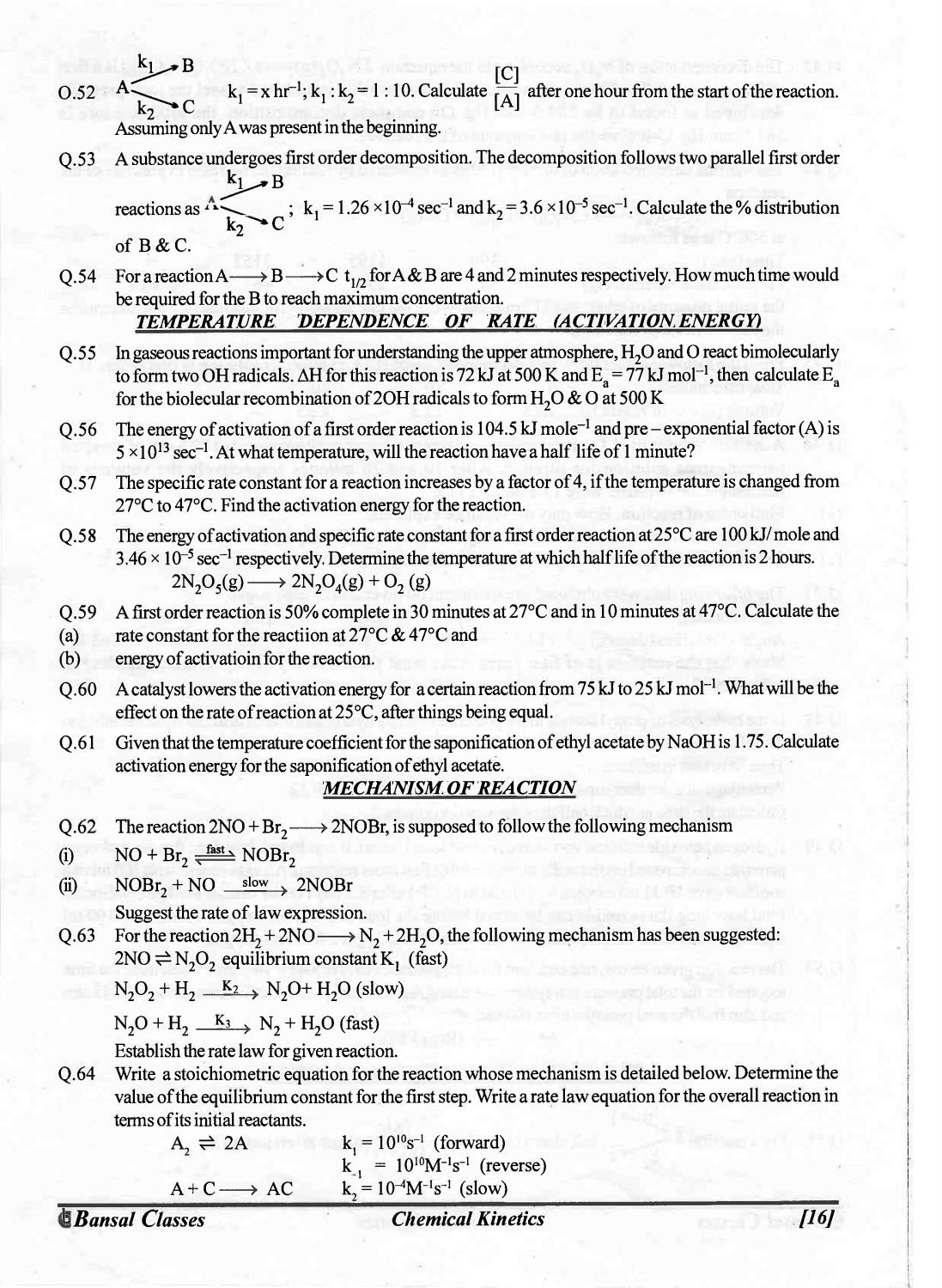 Bansal classes chemistry study material for iit jee by S.Dharmaraj - issuu