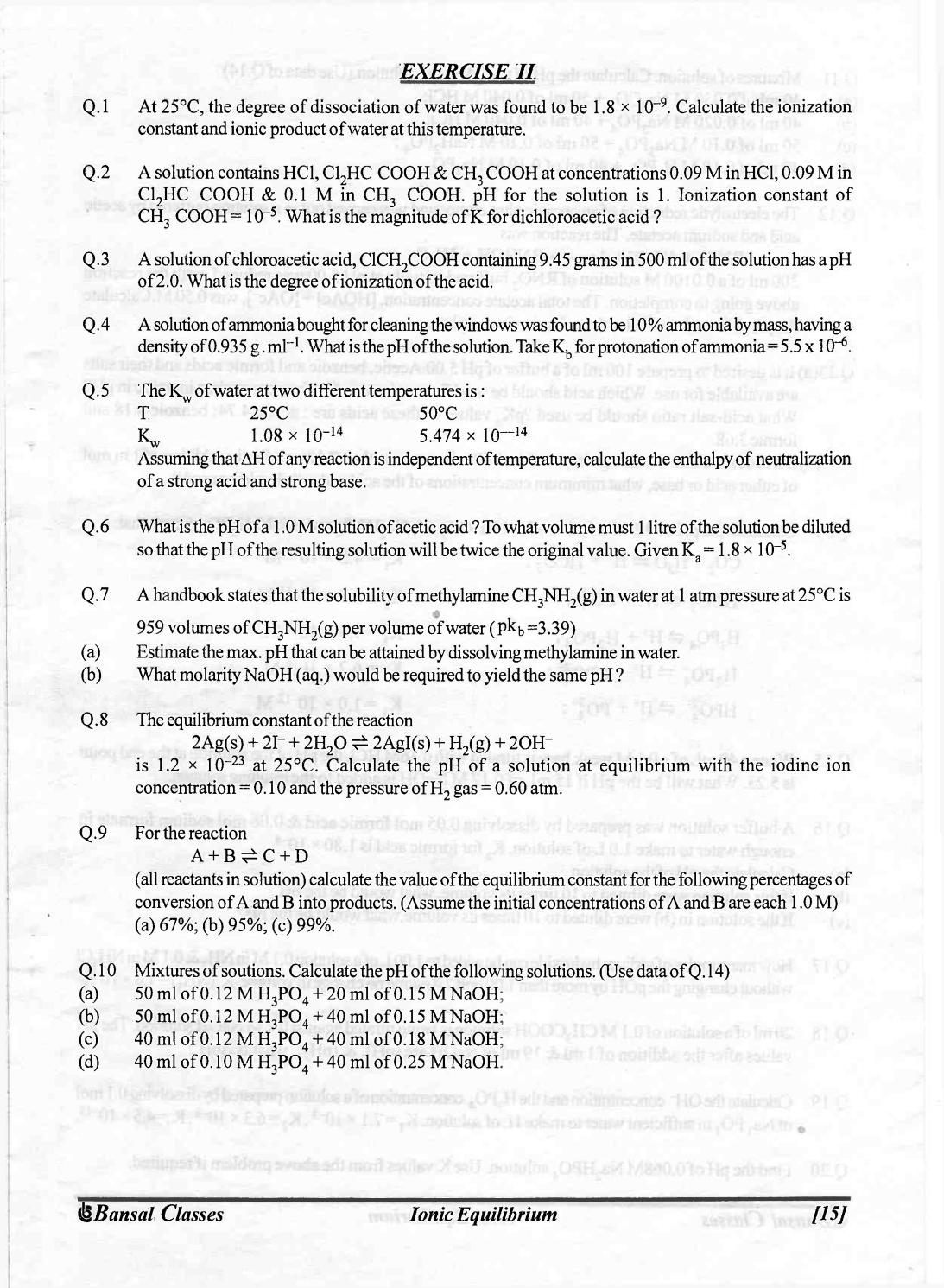 Bansal classes chemistry study material for iit jee by S