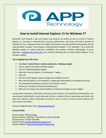 How to install internet explorer 11 for windows 7 by APPtechnology