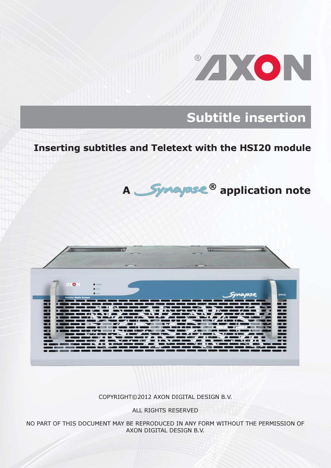 AN2012-10 Subtitle insertion with HSI20 pdf by AXON - issuu