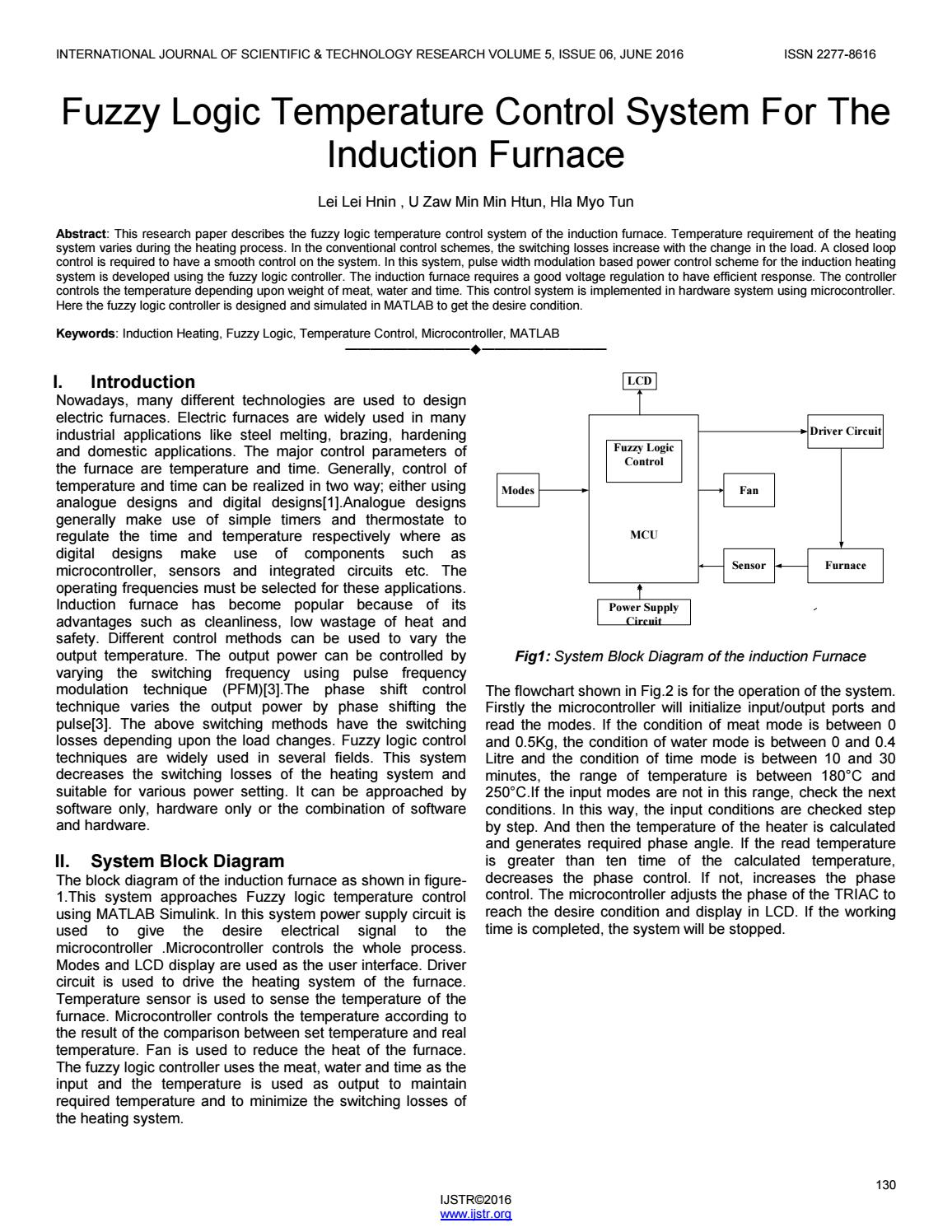 Fuzzy logic temperature control system for the induction furnace by