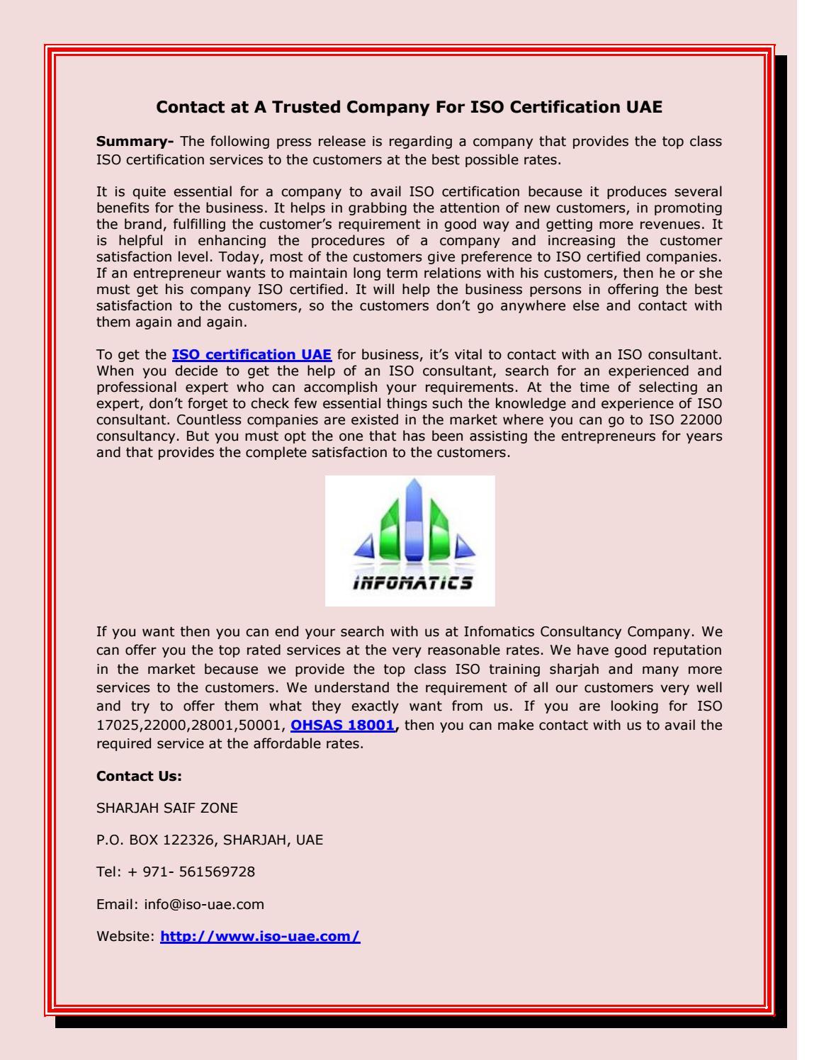 Get ISO certification UAE From ISO-UAE by isouae - issuu