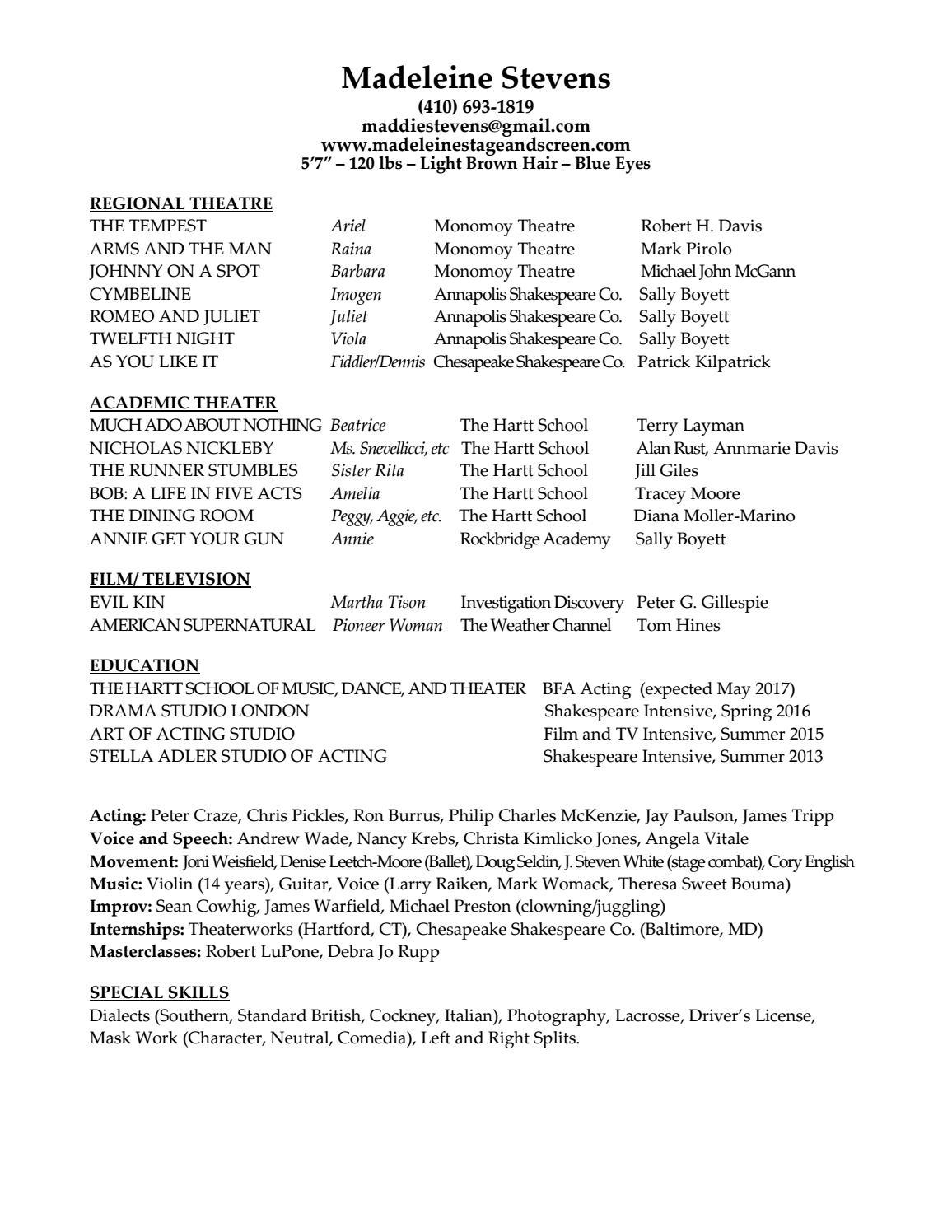 Madeleine Stevens Resume Sept 2016 By