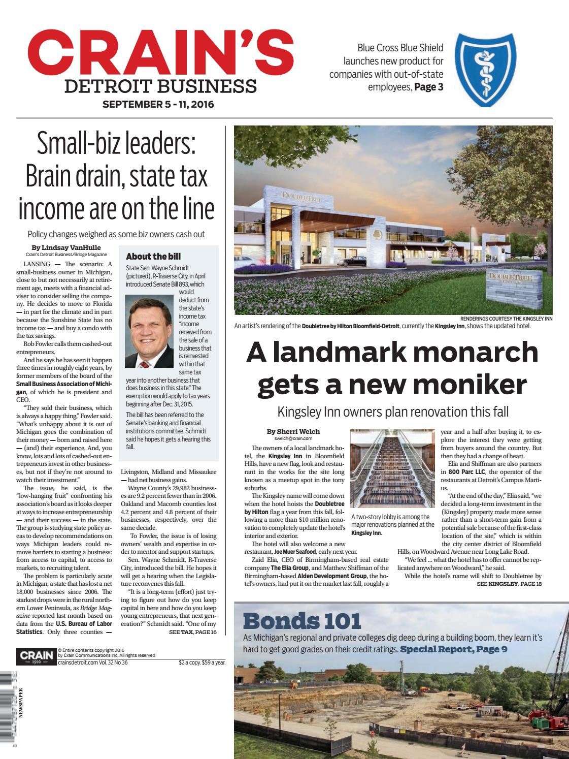 Crain's Detroit Business, Sept. 5, 2016 issue by Crain's Detroit Business -  issuu