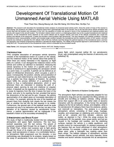 Development of translational motion of unmanned aerial vehicle using
