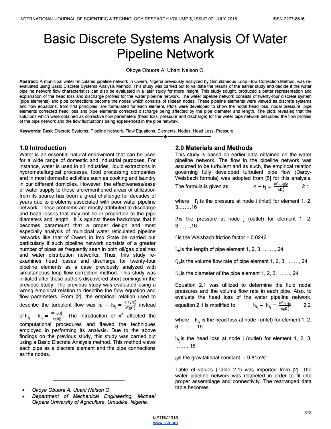 Basic discrete systems analysis of water pipeline network by