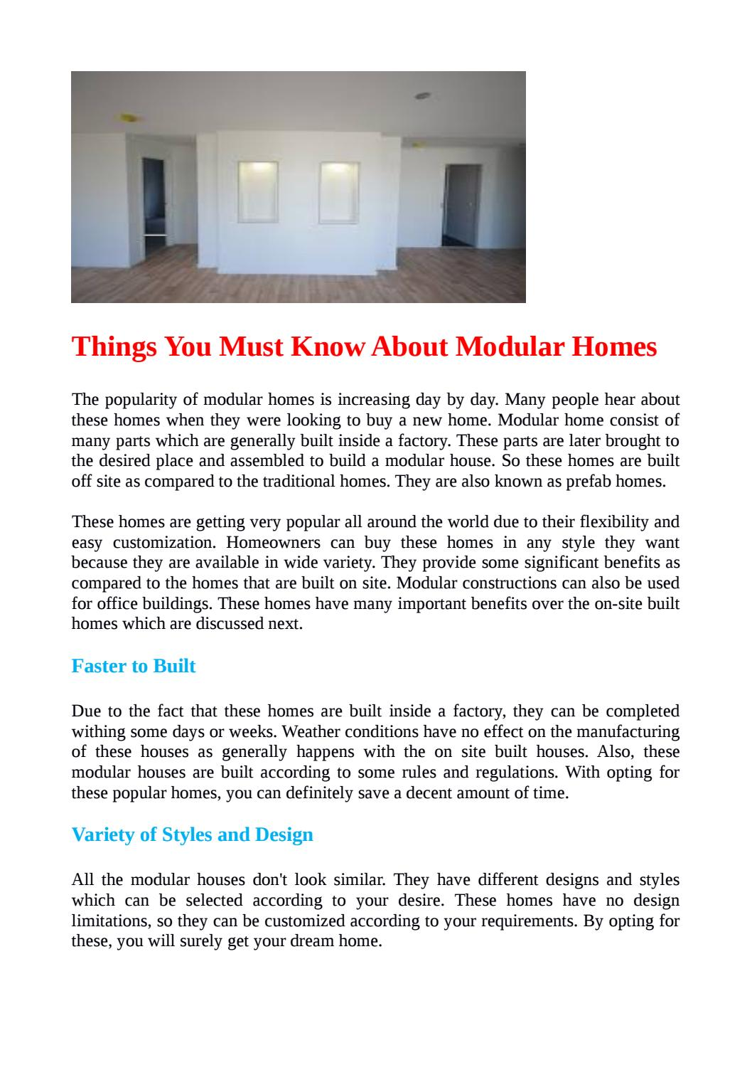 Off Site Built Homes Things you must know about modular homes by snowgumhomes - issuu