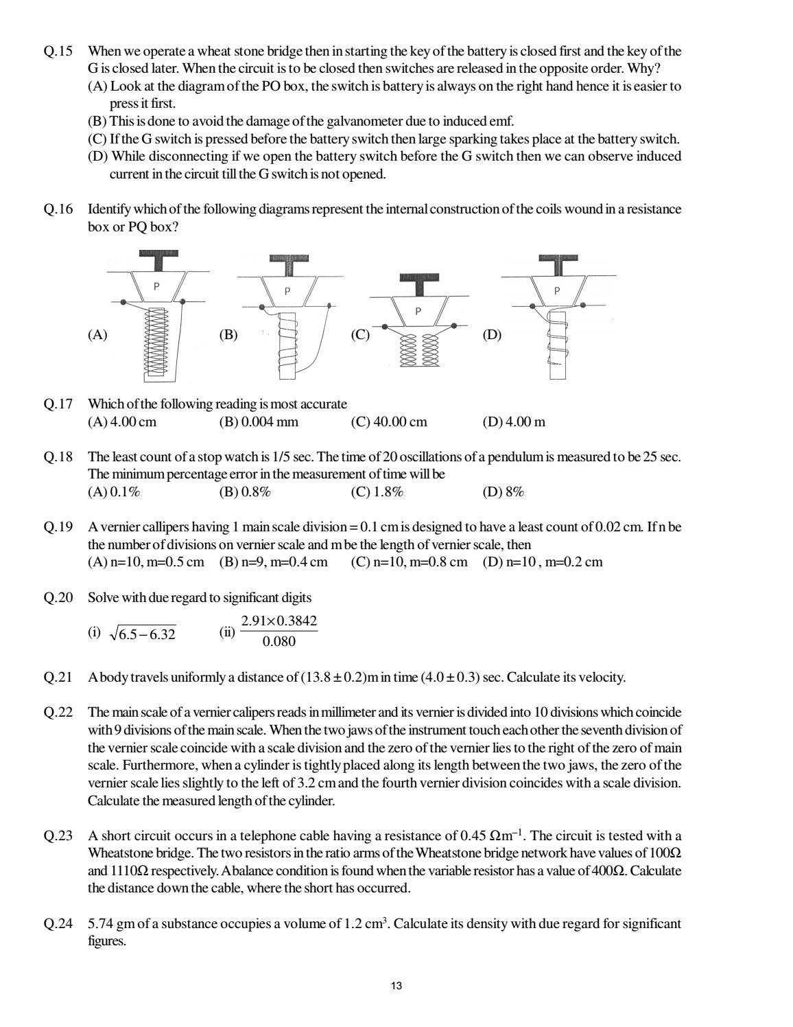 Doc 116 B P S Xi Physics Iit Jee Advanced Study Package 2014 15 By A Short Circuit Occurs When Sdharmaraj Issuu
