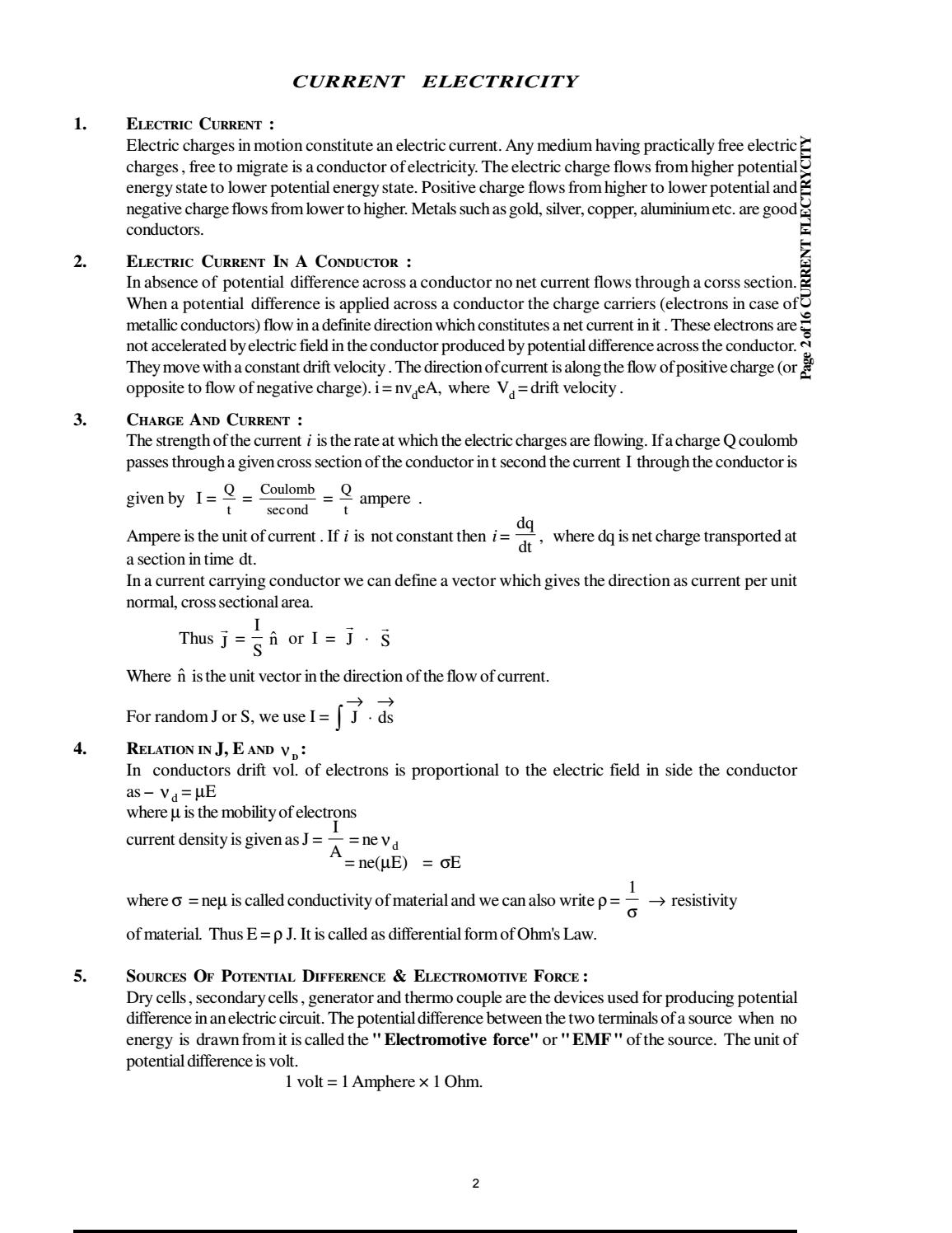 Doc 126 B P S Xii Physics Iit Jee Advanced Study Package 2014 15 By Electric Current Is A Flow Of Charges Sdharmaraj Issuu