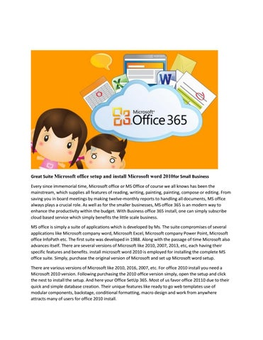 office 2010 small business