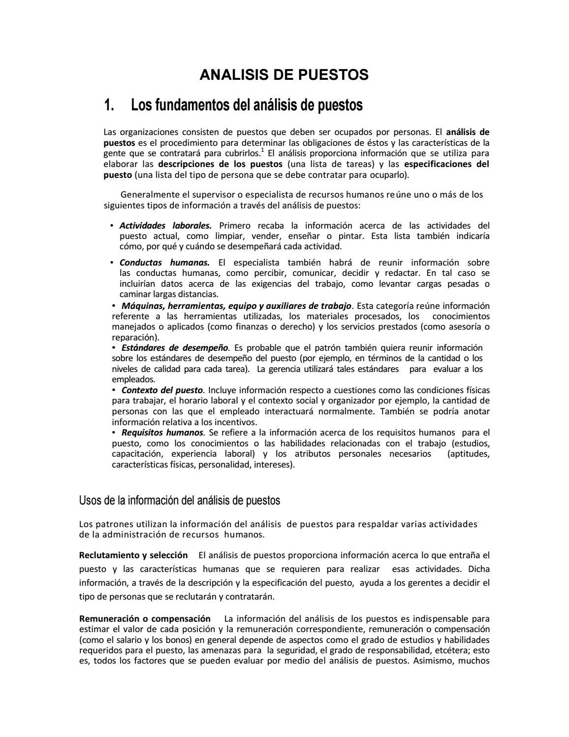 Analisis de puestos by Lissette Alvarez - issuu