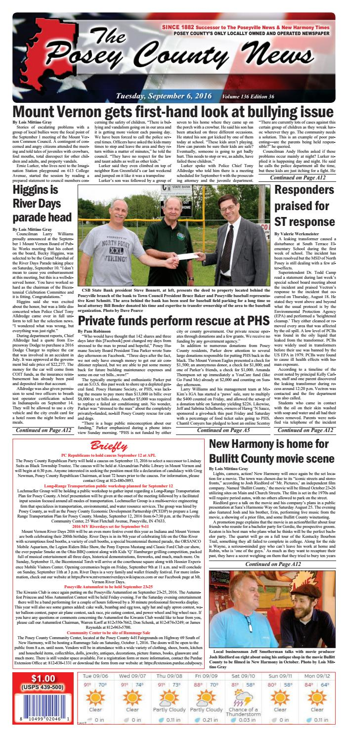 September 6, 2016  The Posey County News By The Posey County News  Issuu