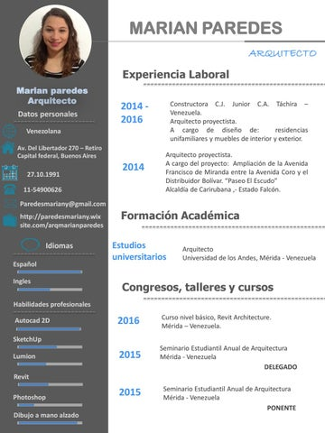 Cv marian paredes arquitecto by marian paredes issuu for Curriculum arquitecto