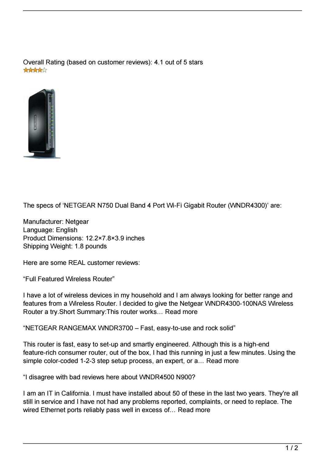 NETGEAR N750 Dual Band 4 Port Wi-Fi Gigabit Router (WNDR4300