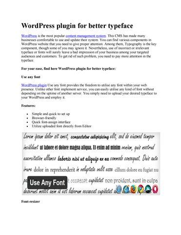 Wordpress plugin for better typeface by Nirmal Web Design