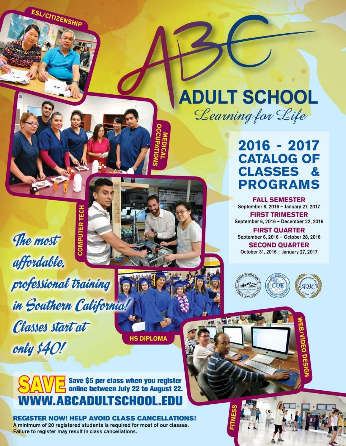 abc adult school fall 2016 catalog of classes by q press