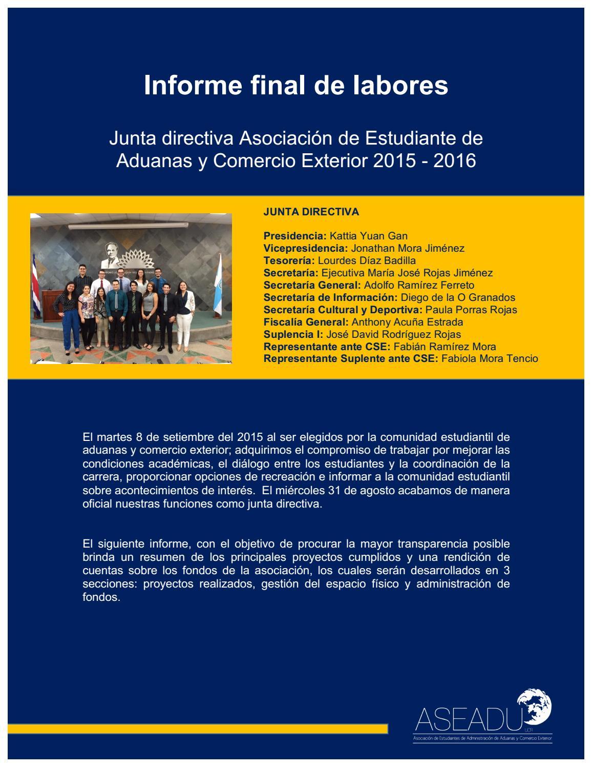 Informe Labores ASEADU 2015 - 2016 by Informe Laboral ASEADU 2015 ...
