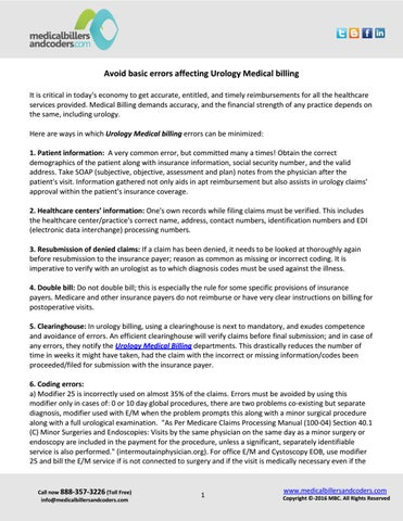 Avoid basic errors affecting urology medical billing by