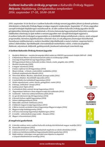 dbfaafcf4d Szellemi kulturális örökség program a Kulturális Örökség Napjain Helyszín:  Hajdúdorog, Görögkatolikus templomkert 2016. szeptember 17–18., 10.00–18.00
