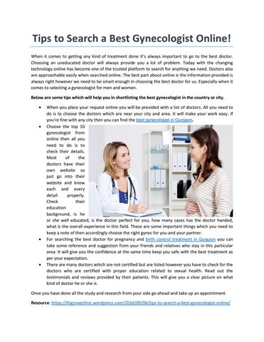 What are some tips for finding a reputable gynecologist?