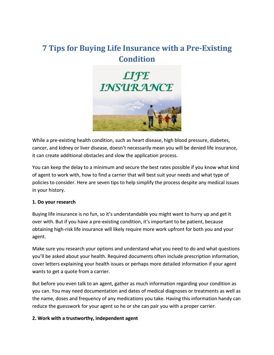 7 Tips for Buying Life Insurance with a Pre-Existing ...