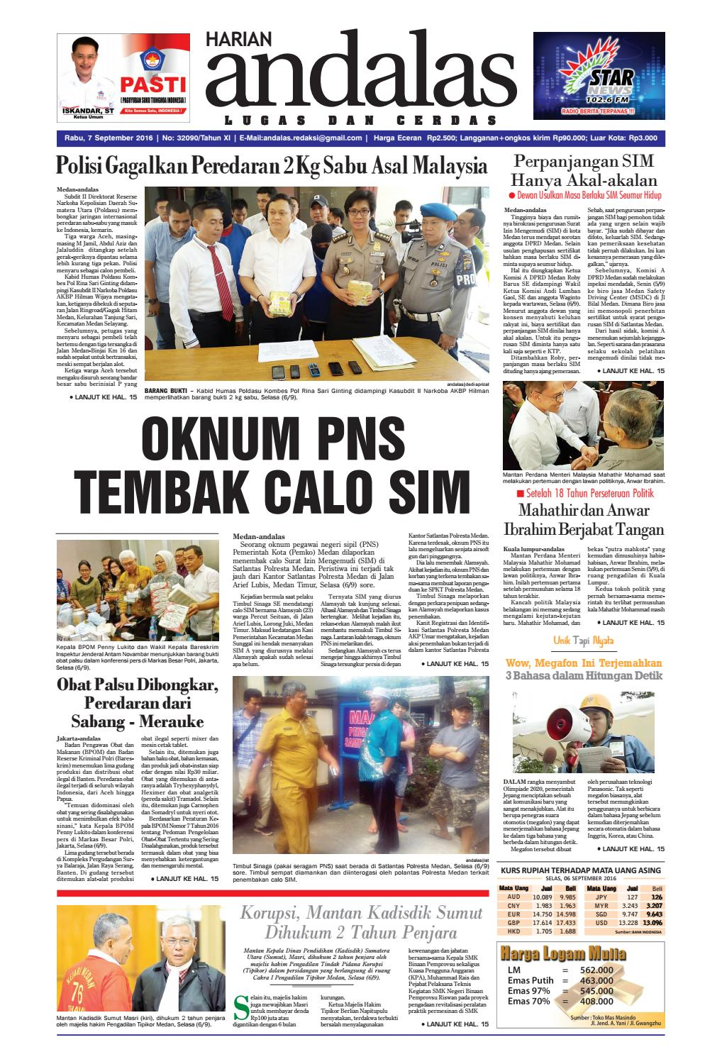 Epaper Andalas Edisi Rabu 7 September 2016 By Media Andalas Issuu