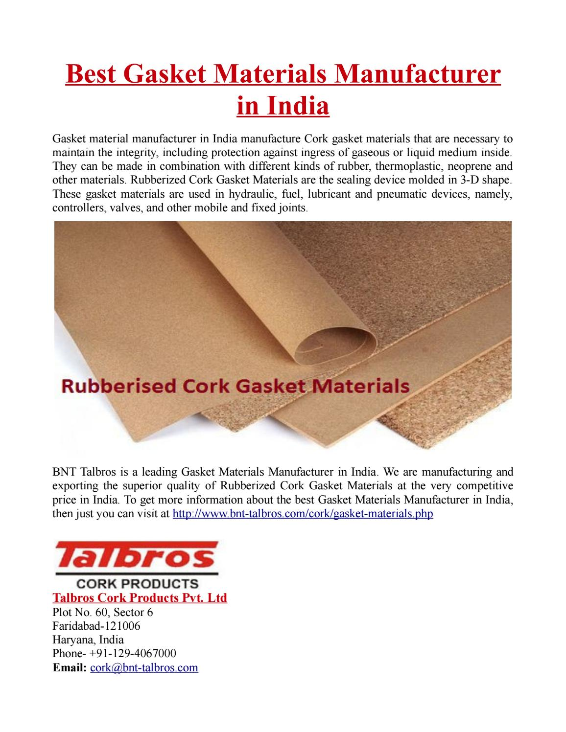 Best Gasket Materials Manufacturer in India by Crazzy Paul