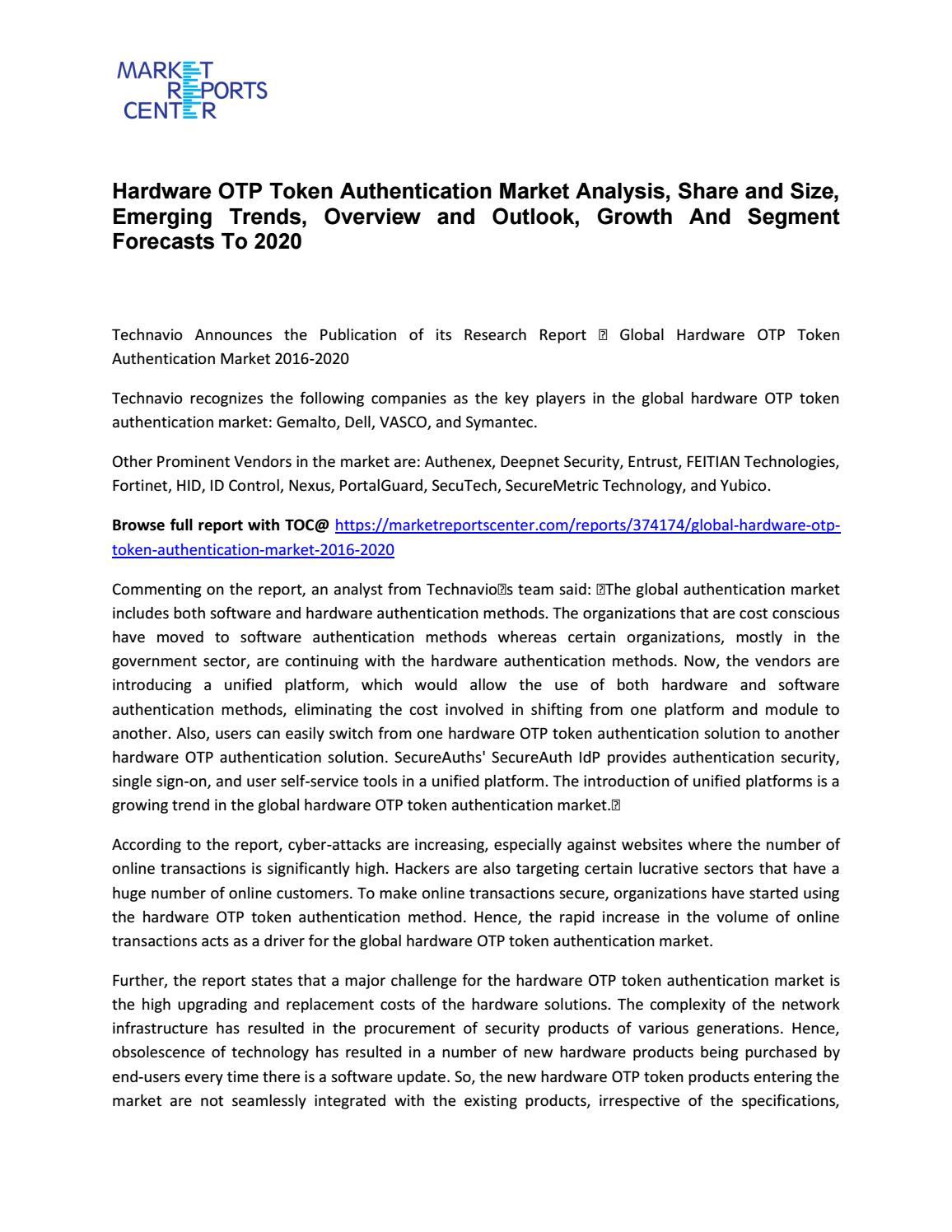 Hardware OTP Token Authentication Market Share, Size, Trends