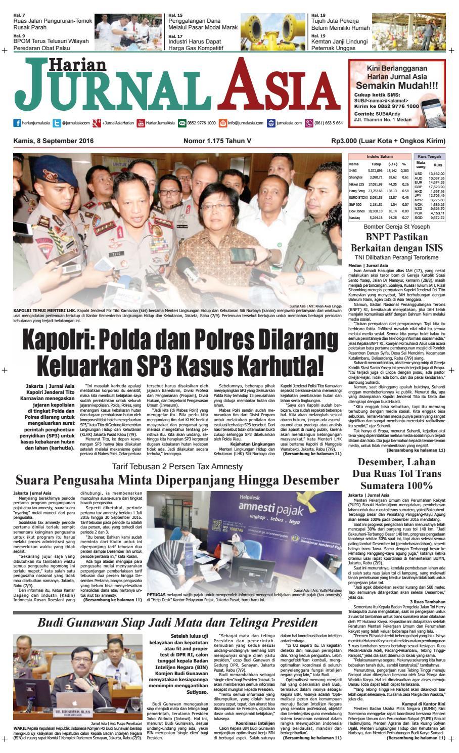 Harian Jurnal Asia Edisi Kamis 08 September 2016 By Harian