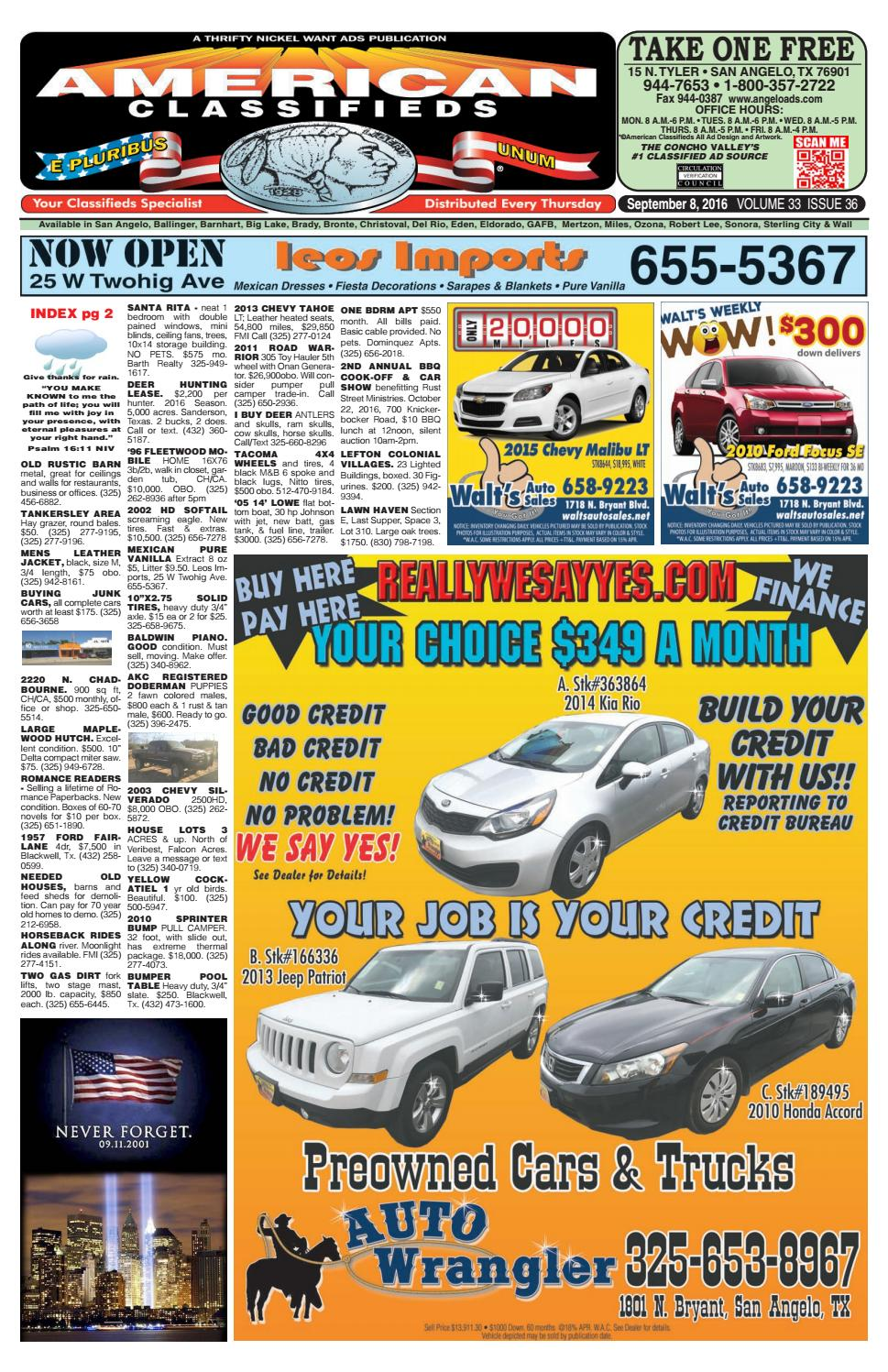 San Angelo American Classifieds 090816 by San Angelo American Classifieds -  issuu