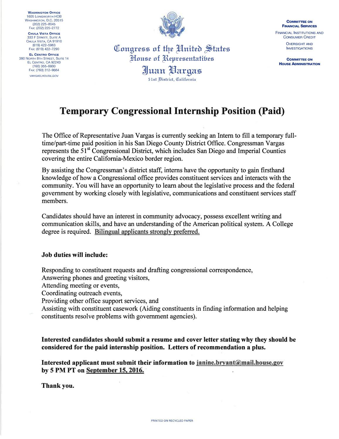 Cover Letter For Congressional Internship from image.isu.pub
