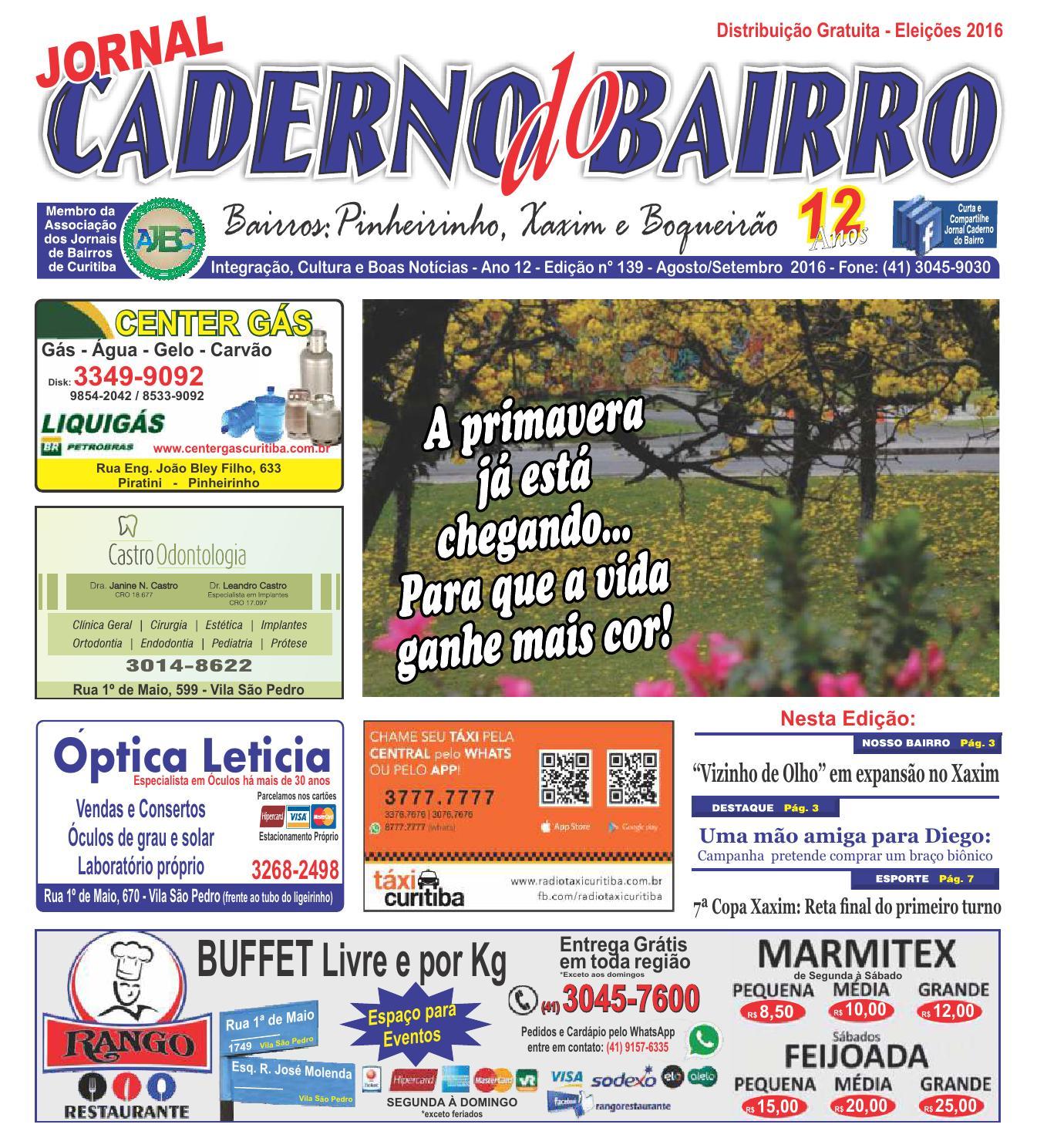 Jornal Caderno do Bairro Xaxim, Pinheirinho e Boqueirão - AgostoSetembro  2016 by Jornal Caderno do Bairro - issuu 8e861fad3b