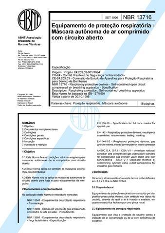bbae28a0c1e1e Licença de uso exclusivo para Petrobrás S A Cópia impressa pelo Sistema  Target CENWeb. NBR 13716 Equipamento de proteção respiratória Máscara  autônoma ...