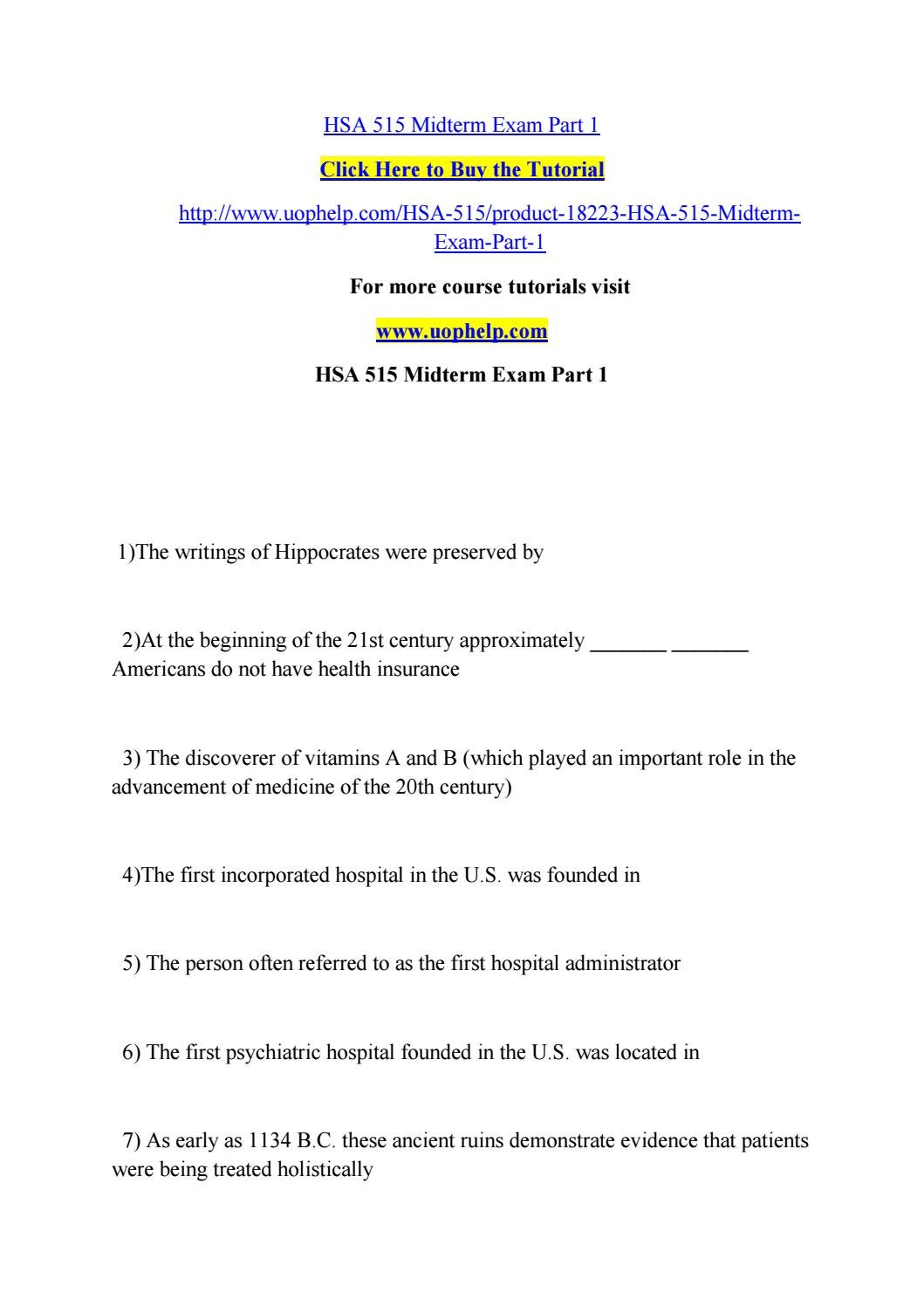 hsa 550 exam 1 Hsa 530 midterm exam 100% correct answers (1) the major piece of  midterm  exam question 1 eco 550 midterm exam all possible questions hsa 530 hsa 551.
