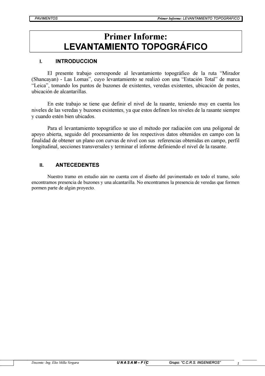 2 Informe Levantamiento Topografico By Frank Trujillo Marcos