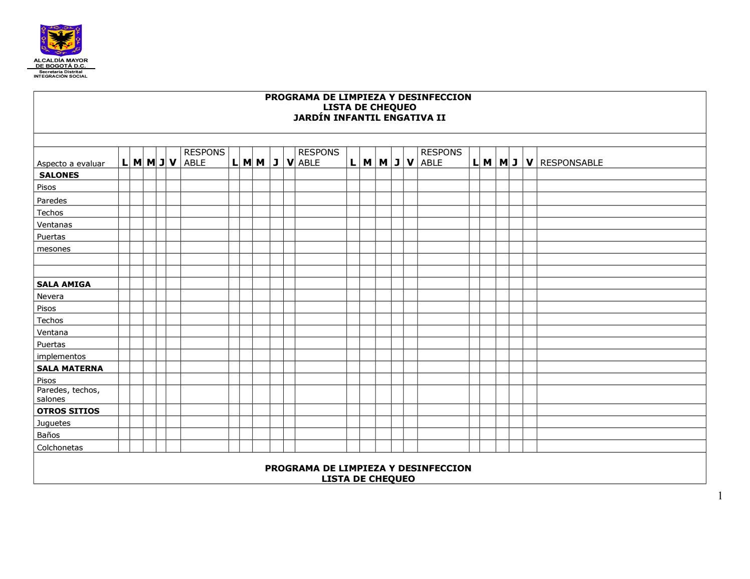 Listas chequeo inspeccion de presencia d plagas by for Programa de limpieza y desinfeccion de una cocina