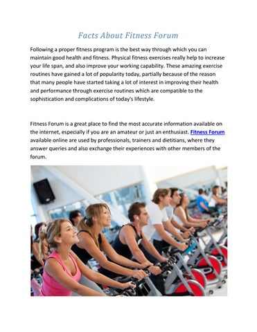 287f3ebf164 Facts About Fitness Forum Following a proper fitness program is the best  way through which you can maintain good health and fitness.