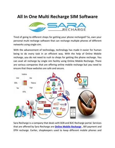 All in one sim multi recharge software pdf by Sara Recharge